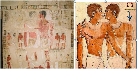Рис.1 Справа — рисунок в гробнице, слева —  его фото-реставрация
