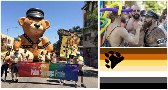 Платформа медведей на параде гордости (слева). Три медведя  и флаг этой группы (справа)