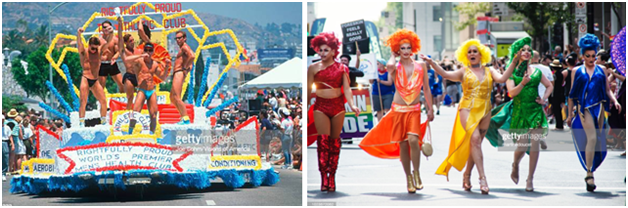 Участники Прайда — геи (слева) и драгквинс (справа)