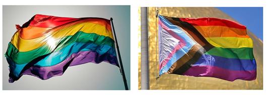 Флаг ЛГБТ (слева традиционный, справа обновлённый)