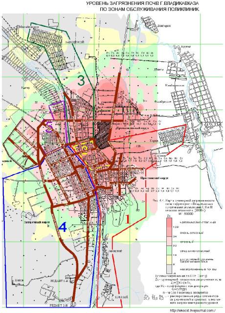 Схема уровня загрязнения почв
