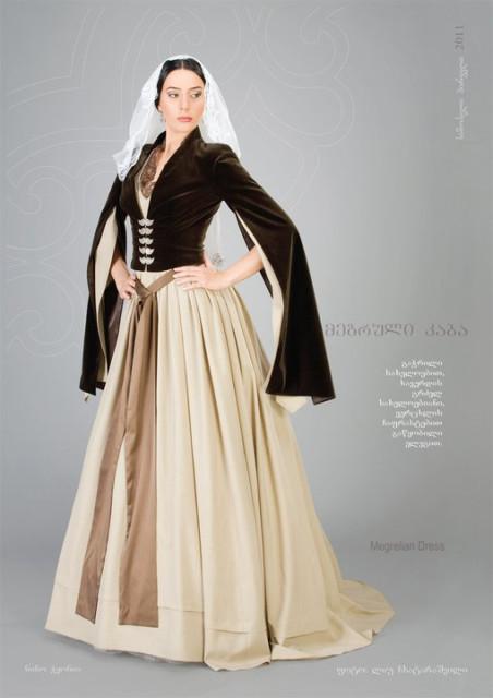 2. Мегрельское женское платье с бархатными разрезными рукавами и  серебряными застежками. 55f9896fae2