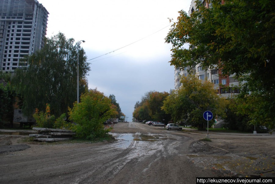 Трасса будущей трамвайной линии по улицам Ленина - Татищева в Екатеринбурге