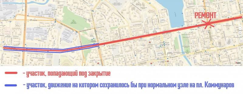 Закрытие трамвайного движения при ремонте перекрестка Ленина – Карла Либкнехта в Екатеринбурге