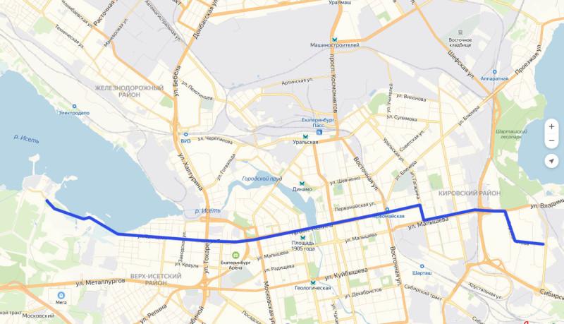 Существующие трамвайные линии по Сыромолотова – Малышева – Гагарина – Ленина – Татищева