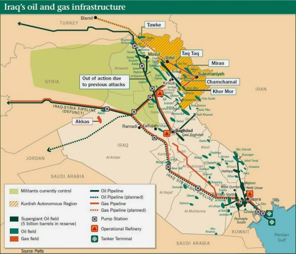 iraq oil and military map
