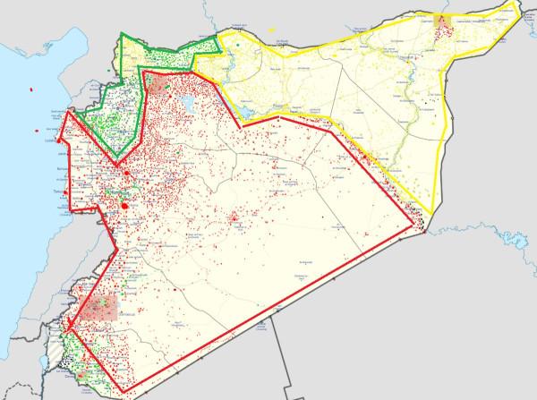 Карта раздела Сирии