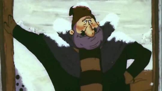"""кадр из мультфильма """"Ишь ты, масленица!"""" как раз, когда барин требует оплаты с бедняка"""