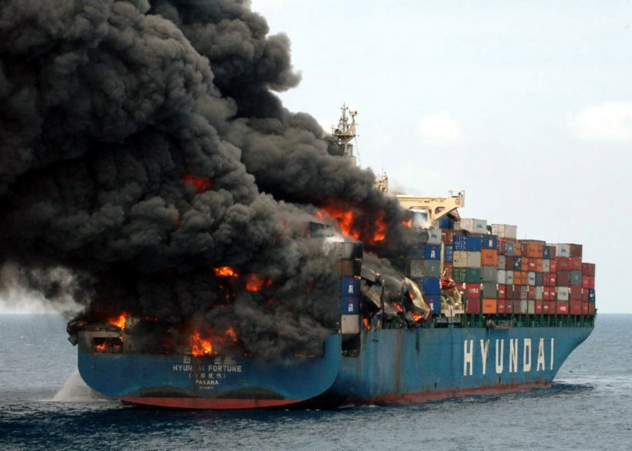 060321-O-9999N-002 Gulf of Aden (March 21, 2006) - Hyundai Fortune burns in the Gulf of Aden, app