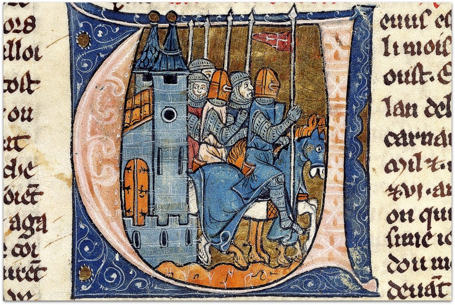French_-_Initial_V_with_Godefroy_de_Bouillon_and_Four_Knights_-_Walters_W13715R_-_Detail