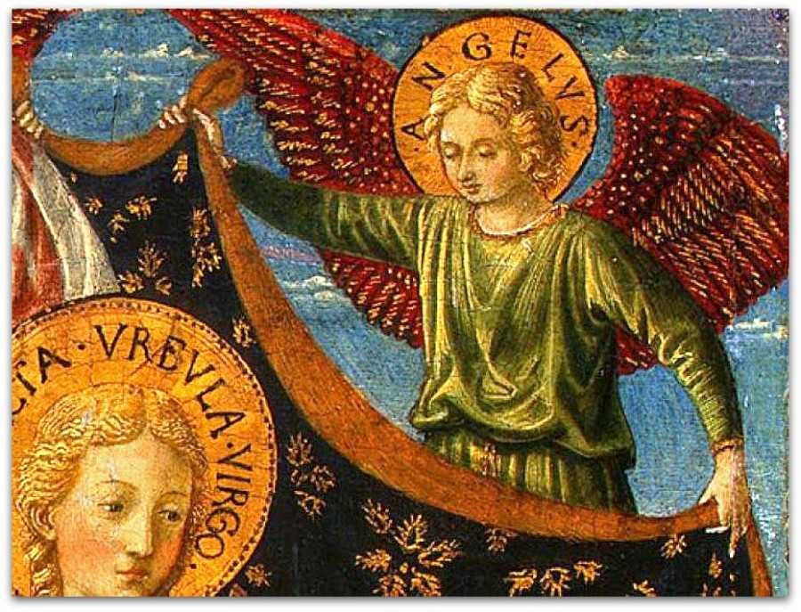 Беноццо-Гоццоли--Saint-Ursula-with-Angels-and-Donor,-1455,-47x28.6-(1