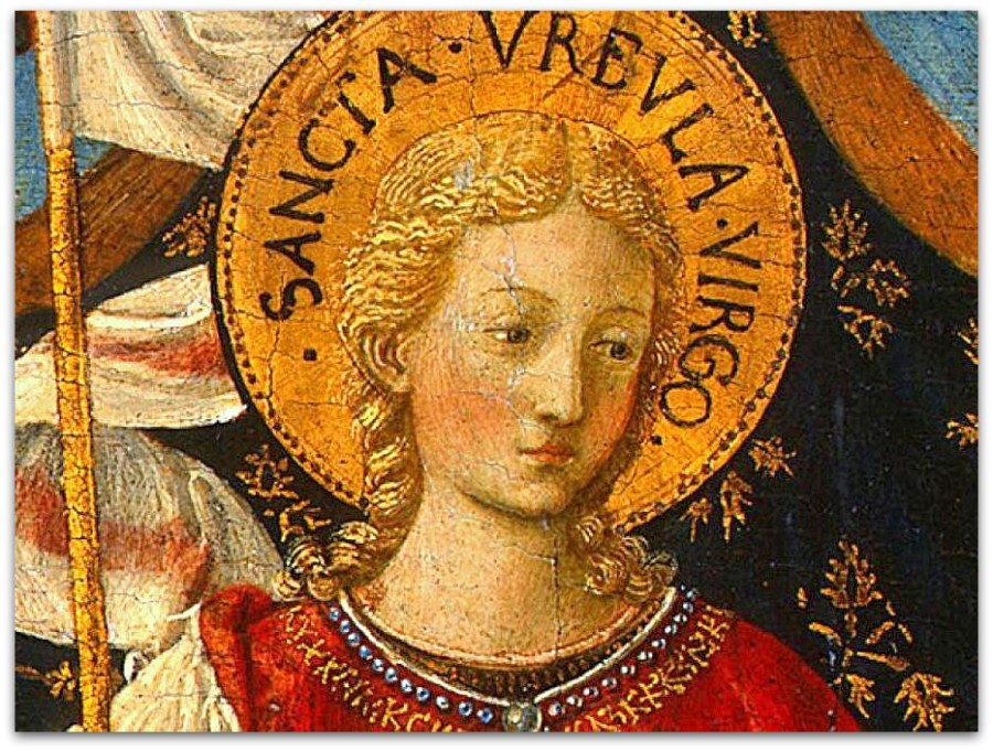 Беноццо-Гоццоли--Saint-Ursula-with-Angels-and-Donor,-1455,-47x28.6-(3