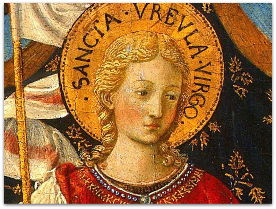 Беноццо-Гоццоли--Saint-Ursula-with-Angels-and-Donor,-1455,-47x28.6-(3