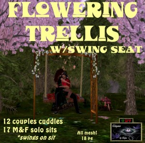 EbE Flowering Trellis wSwing Seat (red brocade) ADc