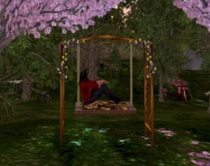 EbE Trellis Swing Seat (bronze floral) M