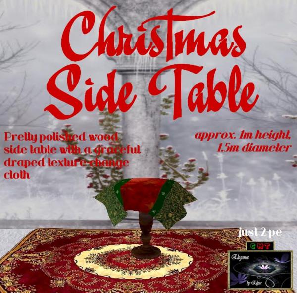 EbE Christmas Side Table wDrape (mahogany) ADc