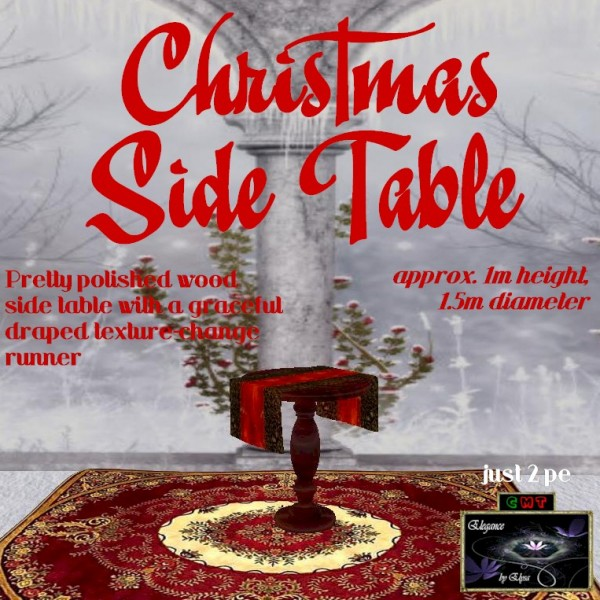 EbE Christmas Side Table wRunner (chestnut) ADc