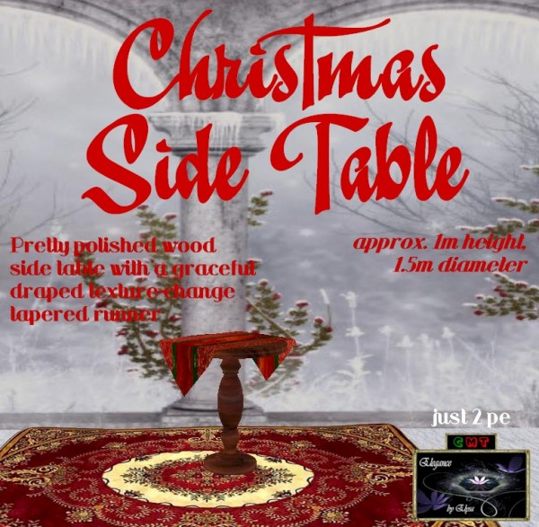 EbE Christmas Side Table wTapered Runner (maple) ADc