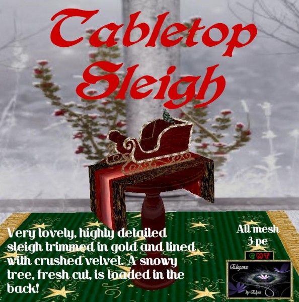 EbE Tabletop Sleigh wSnowy Tree ADc