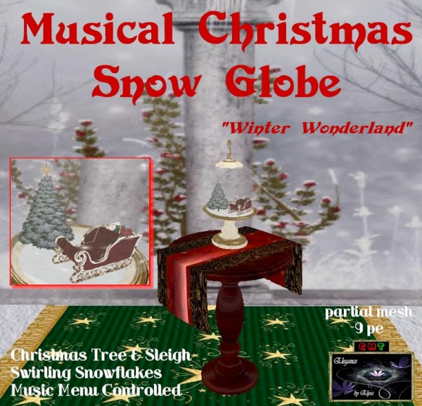 EbE Christmas Snow Globe (Sleigh & Tree)(cream) inset ADt