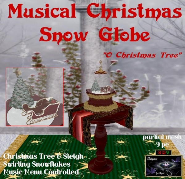 EbE Christmas Snow Globe (Sleigh & Tree)(red)inset ADt