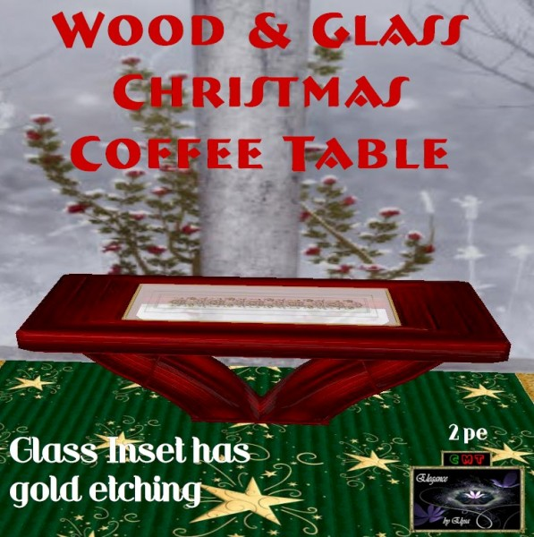EbE Wood & Glass Christmas Coffee Table (red) ADc