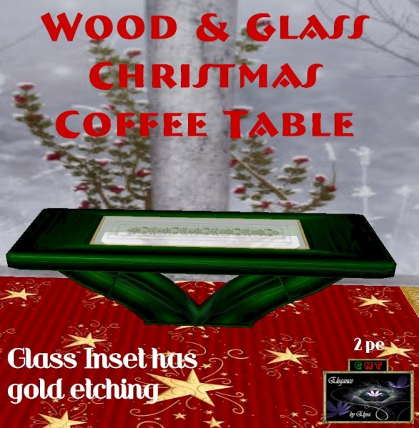 EbE Wood & Glass Christmas Coffeetable (green) ADc