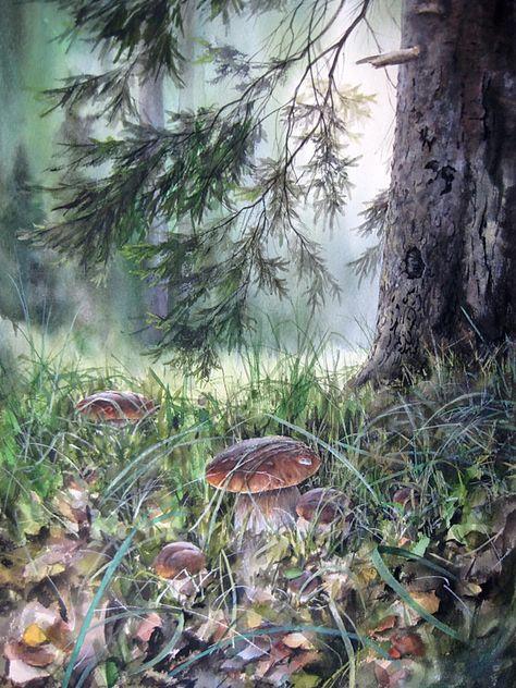 Акварельные грибы Александра Вязьменского.