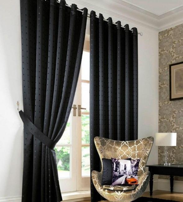Черные шторы интерьер
