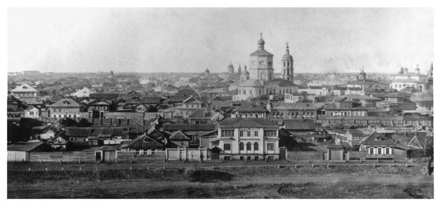 Вид на Крестовоздвиженский собор со стороны Кутума - 1874-нач.1877