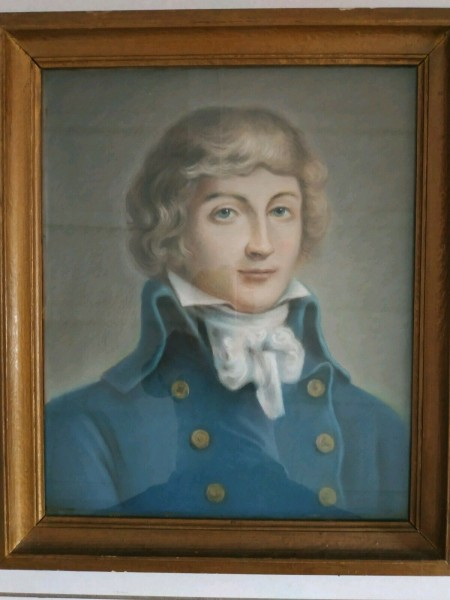 Pastel ancien representant le portrait du revolutionnaire Saint- Just .1