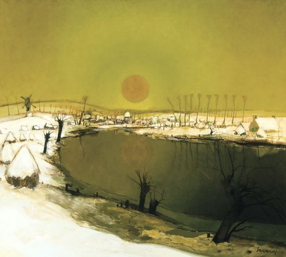 albert saverys - Sunset over the River Lys