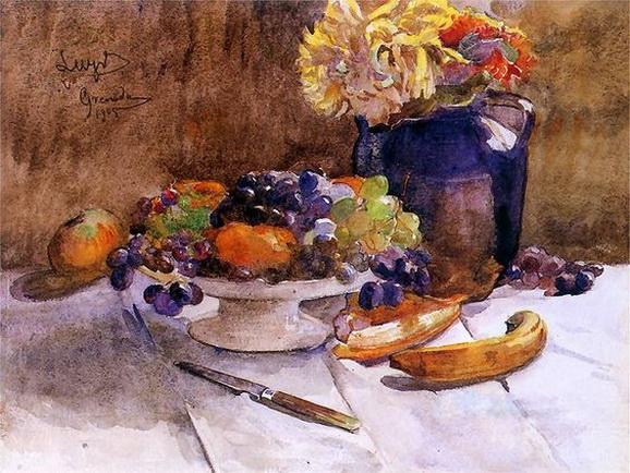 Leon Jan Wyczolkowski -  Martwa natura z winogronami i nozem
