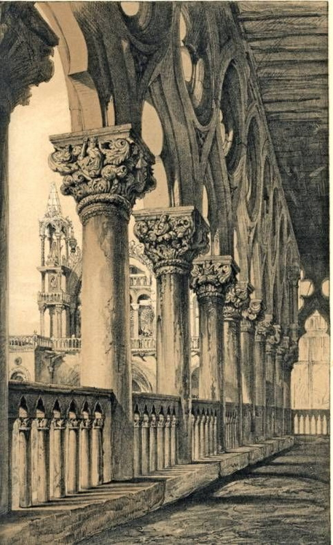 John Ruskin -  The Ducal Palace. Renaissance Capitals of the Loggia