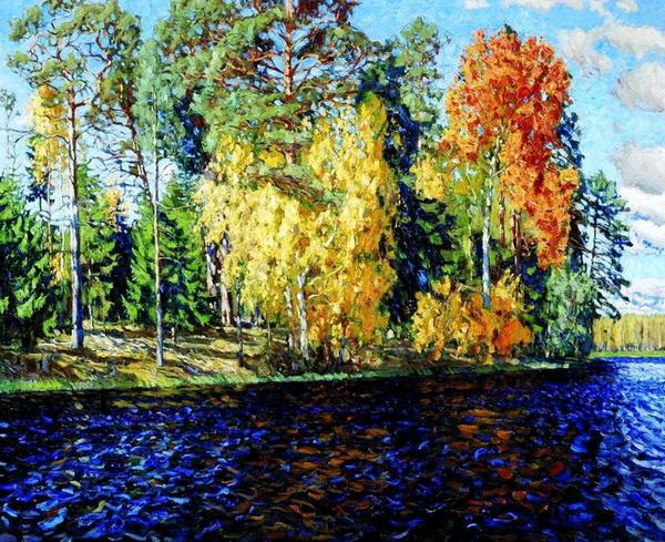 Станислав Жуковский - Лесное озеро. Золотая осень