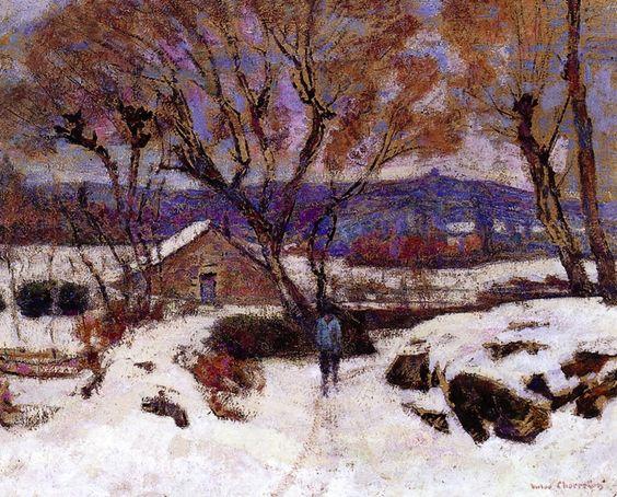 Victor Charreton -  Snow at Murol
