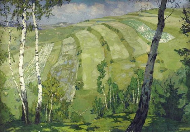 Alois Kalvoda - Landscape with birch trees