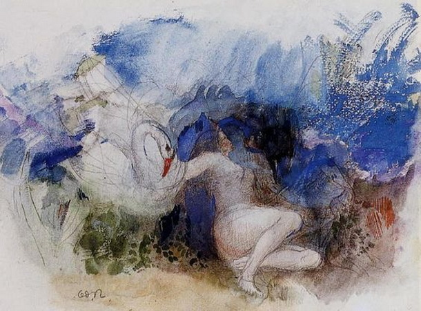 Odilon Redon -  Leda with swan
