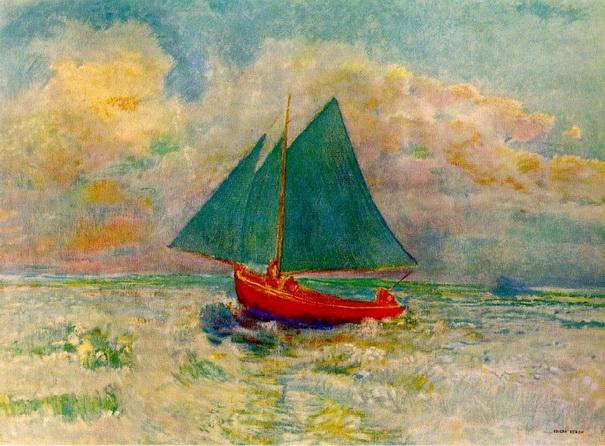 Odilon Redon -  Красная лодка с парусом