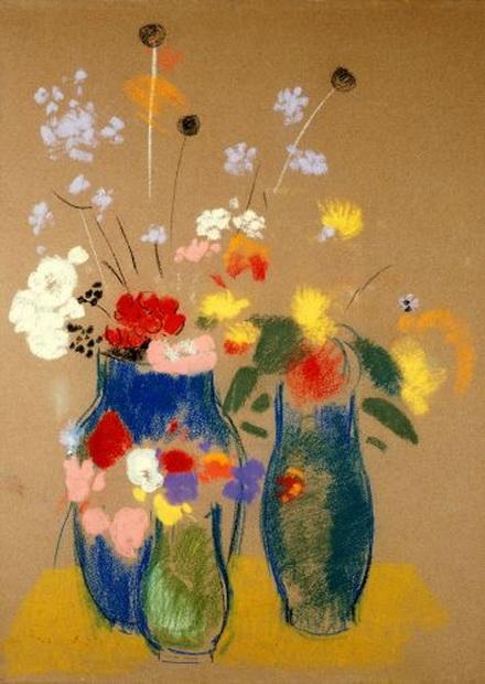 Odilon Redon - Three Vases of Flowers