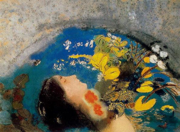 Odilon Redon -  Ophelie au milieu des fleurs