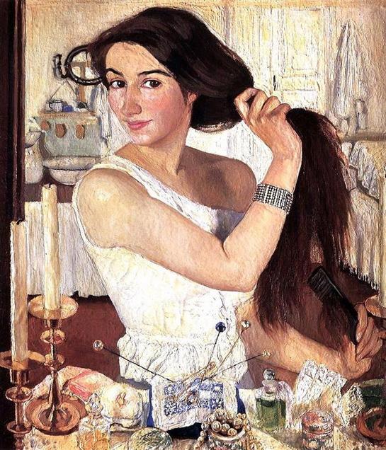 Серебрякова - За туалетом. Автопортрет 1909 г.