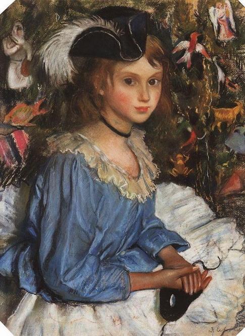 Серебрякова - Катя в голубом у елки 1922