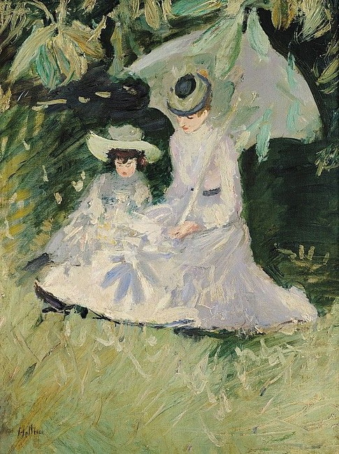 Paul Cesar Helleu -  Madame Helleu and Her Daughter