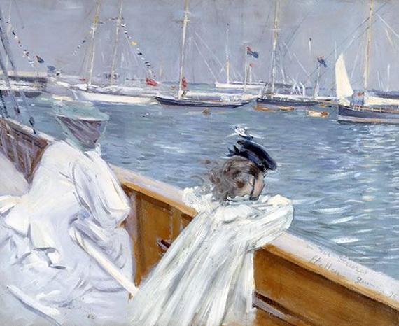 Paul Cesar Helleu -  Madame Helleu et sa Fille Ellen en Mer