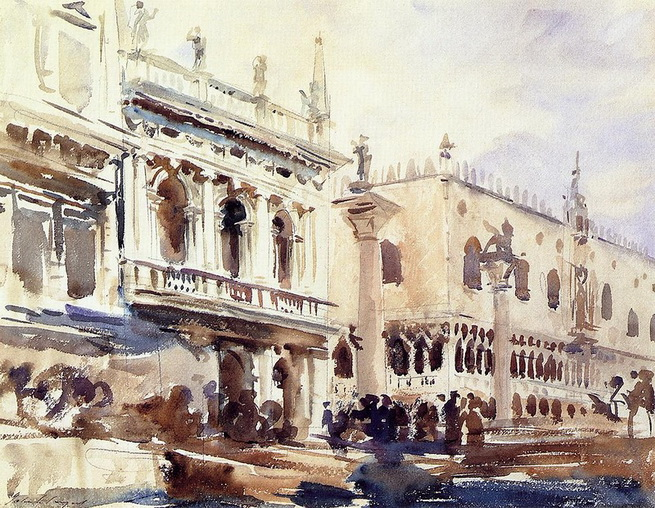 John Singer Sargent  - Venice  The-piazzetta-and-the-doges-palace