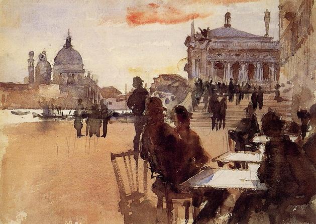 John Singer Sargent  -  Venice  Cafe-on-the-riva-degli-schiavoni