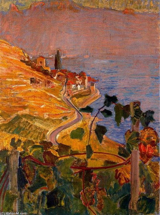 Ernest Bieler - - View of St. Saphorin from the house of Montellier