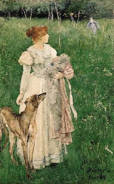 Ernest Bieler - Dame mit Windhund
