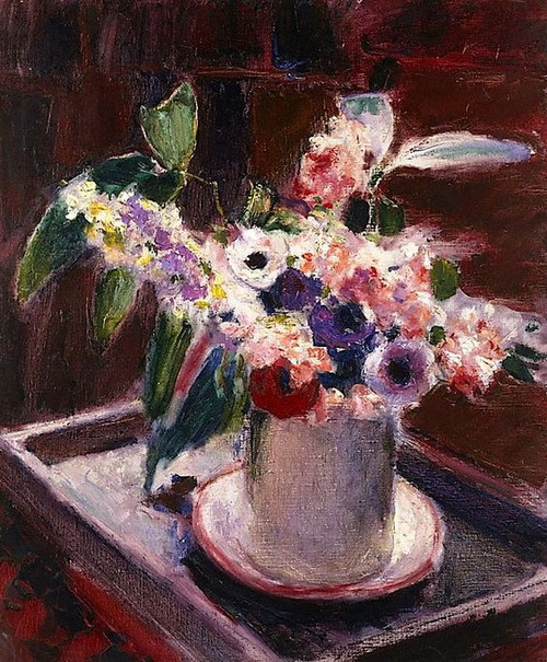 Roderic O`Connor -  Anemones and stock in white jug